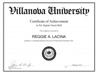 Villanova University SixSigma GB Certificate_ Feb 2011